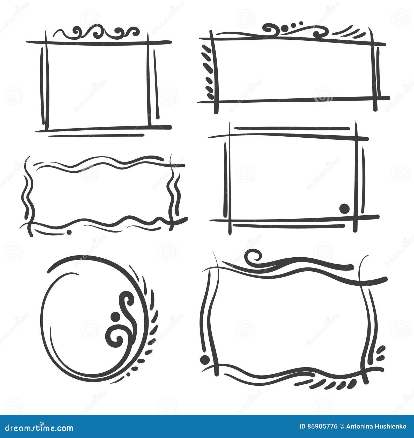 Hand drawn frames set cartoon vector square and round borders hand drawn frames set cartoon vector square and round borders pencil effect shapes corner decoration jeuxipadfo Images