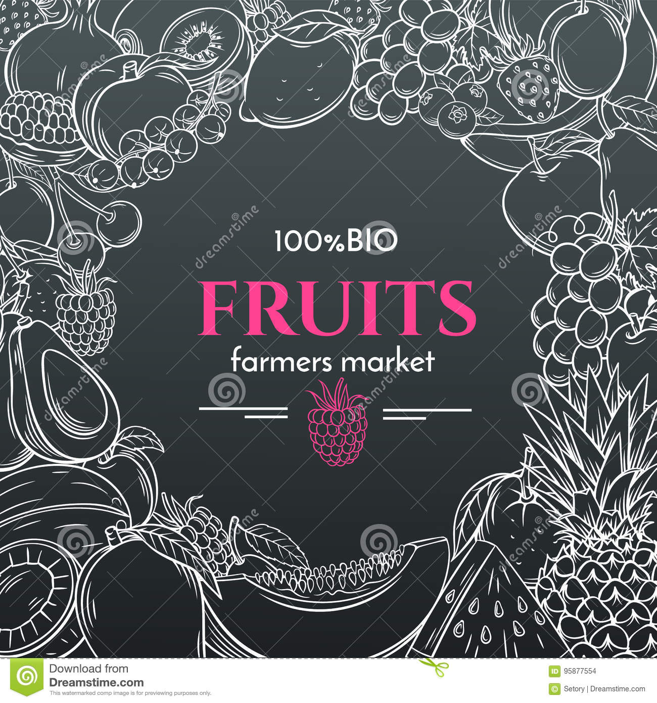 Hand Drawn Fruits For Farmers Market Menu Stock Vector