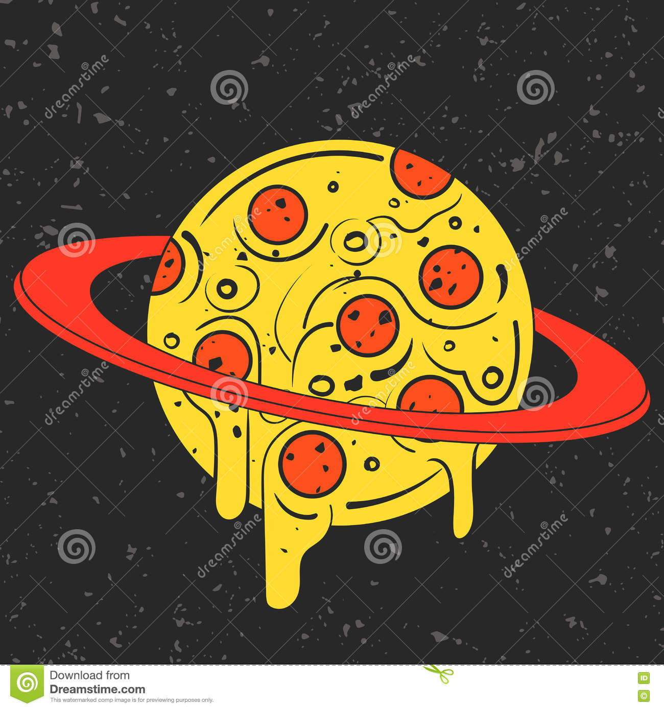 Hand drawn funny illustration of pizza looking planet in for Space pizza fabric