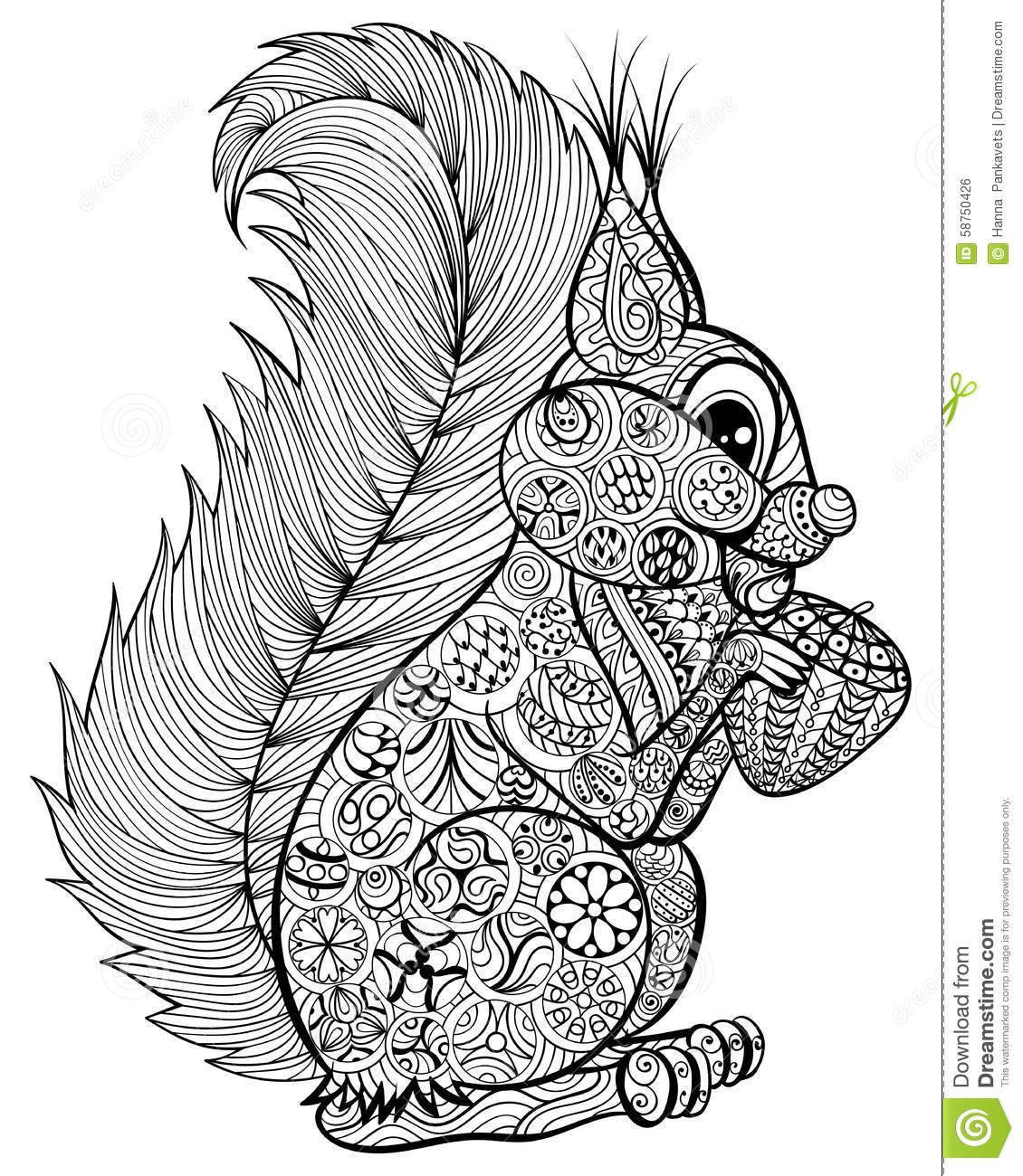 Hand Drawn Funny Squirrel With Nut For Adult Anti Stress