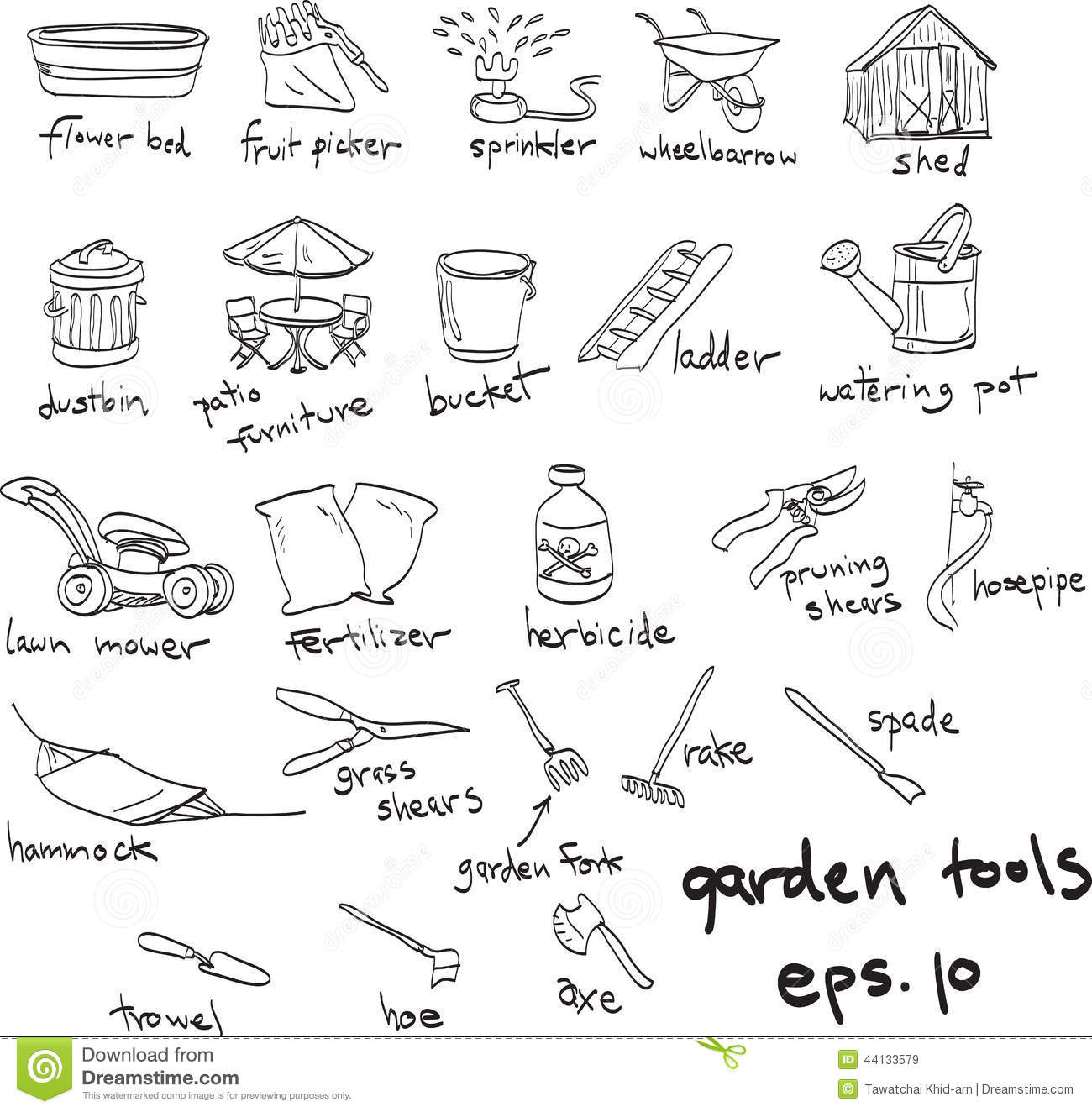 Hand drawn garden tools doodles stock vector for Gardening tools drawing with names