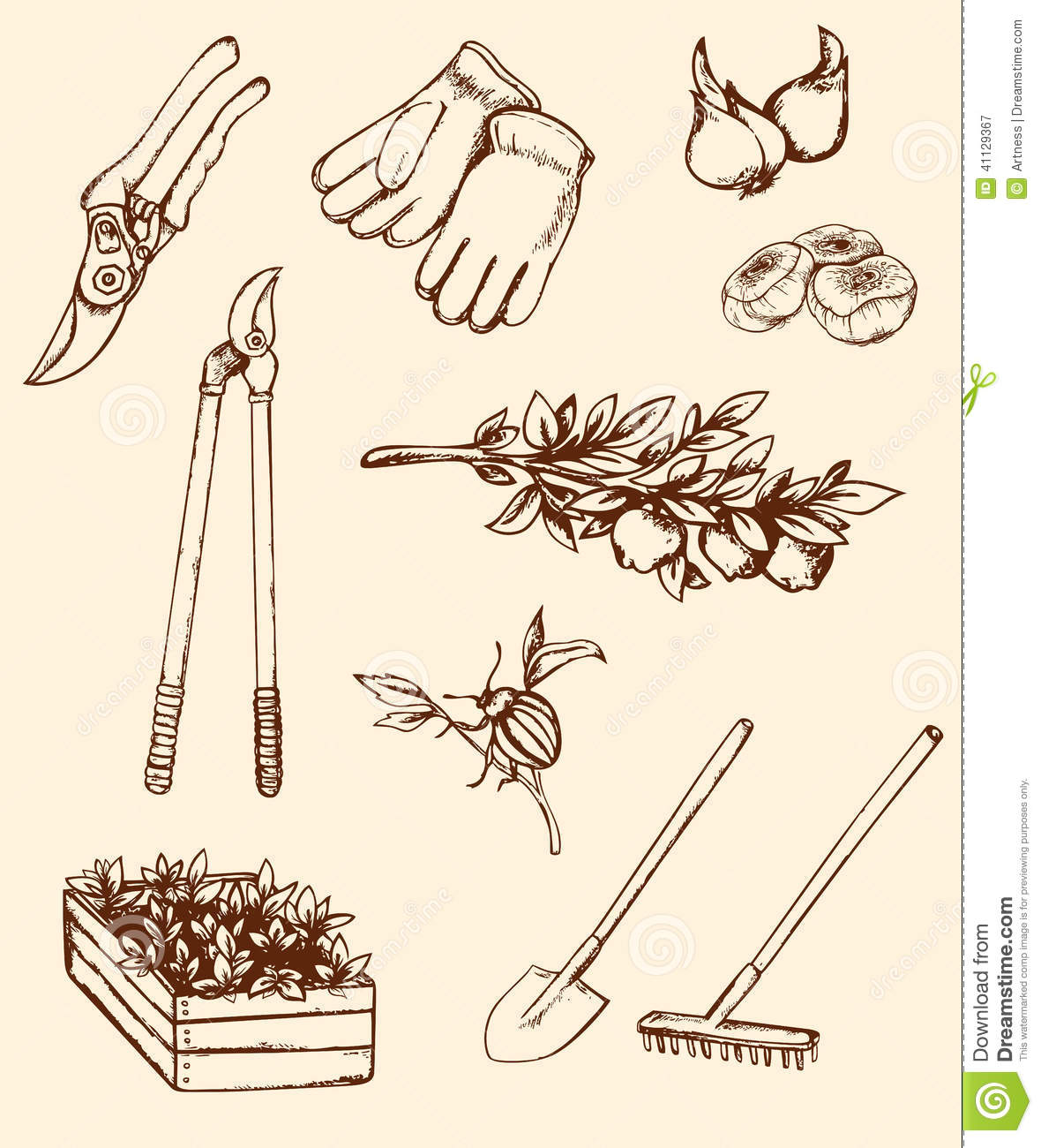 Hand drawn garden tools stock vector illustration of for Gardening tools drawing with names