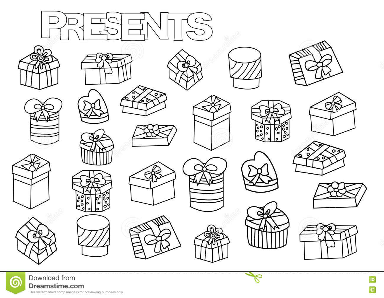 Hand Drawn Gift Boxes Set. Coloring Book Page Template With ...