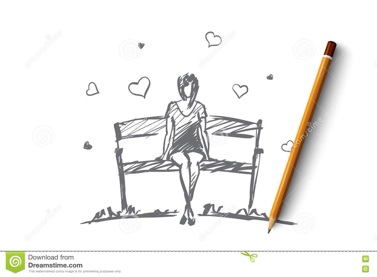 Vector hand drawn girl hearts concept sketch with pencil over it young girl in love sitting on bench