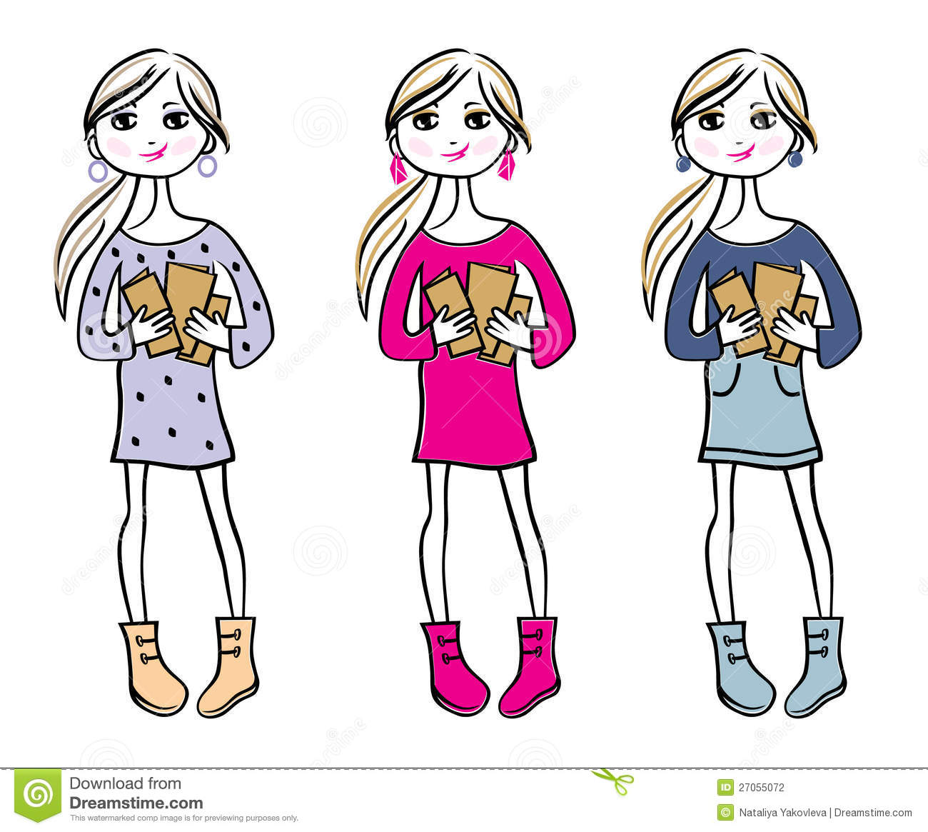 Hand Drawn Girls With Books Stock Photography Image 27055072