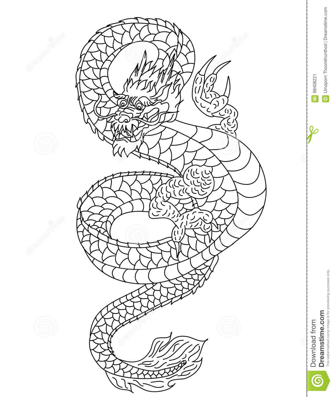 Hand Drawn Gold Dragon Japanese Tattoo Style On White Background