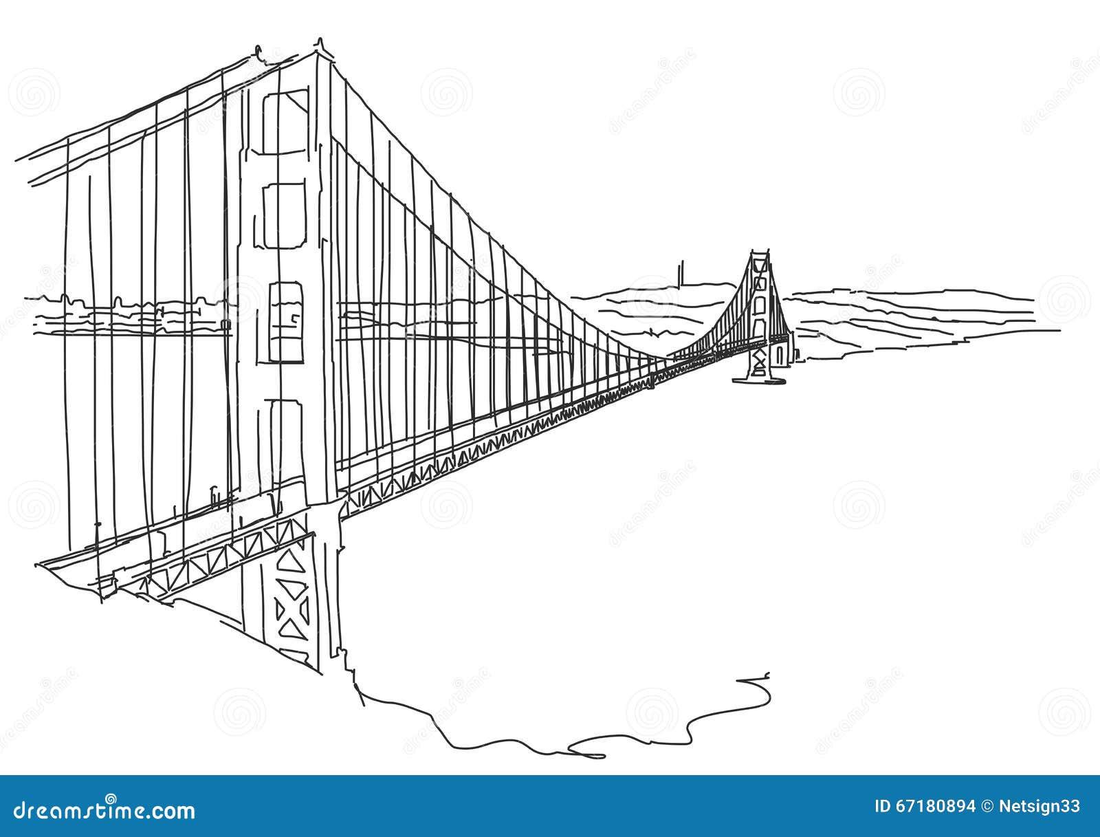 Hand drawn Golden Gate, San Francisco. Vector Scribble
