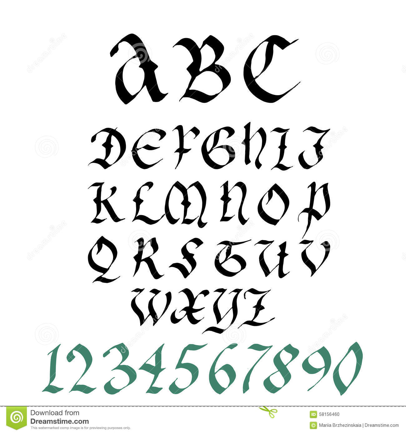 Hand Drawn Gothic Ink Pen Artistic Font Set Includes Capital Letters Numbers