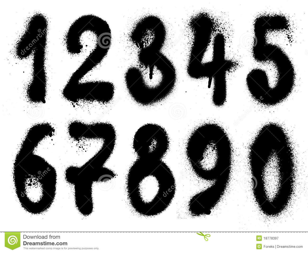 hand drawn graffiti grunge numbers royalty free stock photography. Black Bedroom Furniture Sets. Home Design Ideas