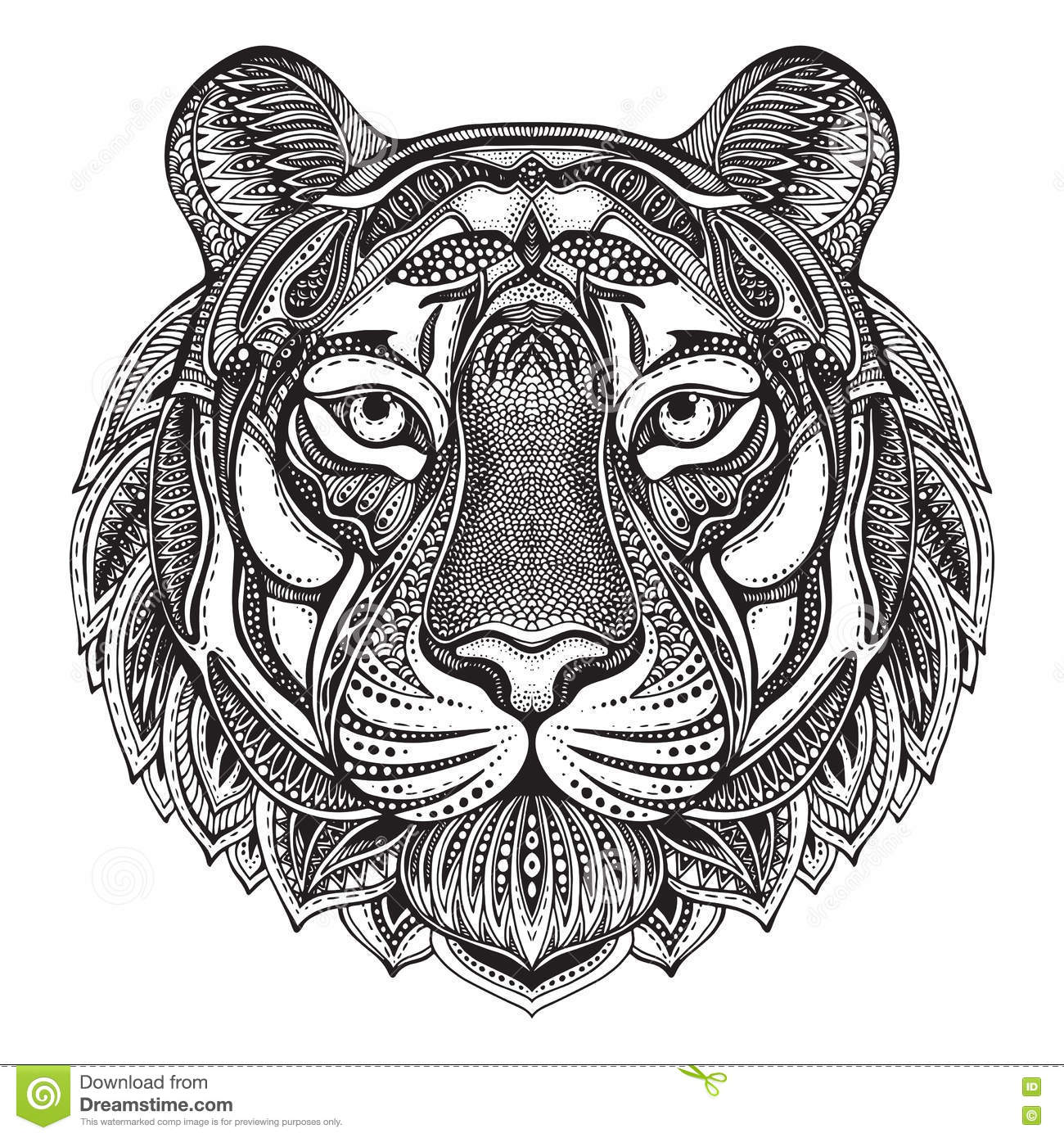 Hand drawn graphic ornate tiger stock vector - Mandalas de tigres ...