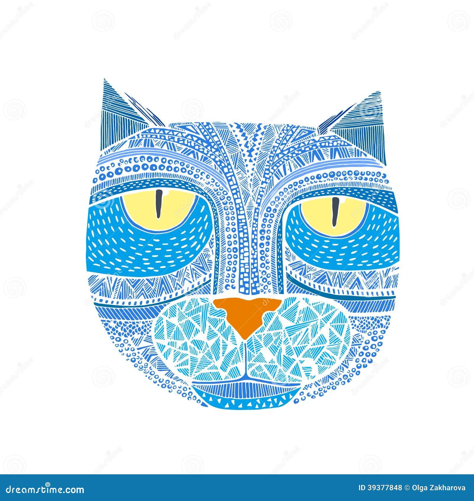 Concorso Design Your Cat : Hand drawn graphic vector of a cat unique art