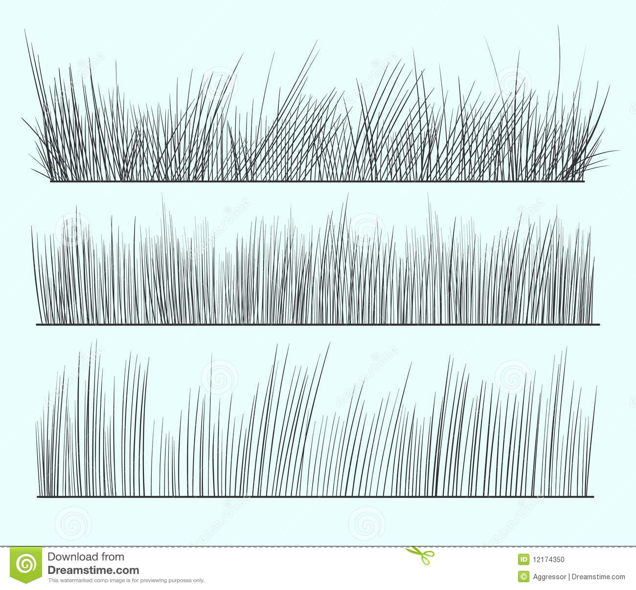 Line Drawing Grass : Hand drawn grass stock vector image of border