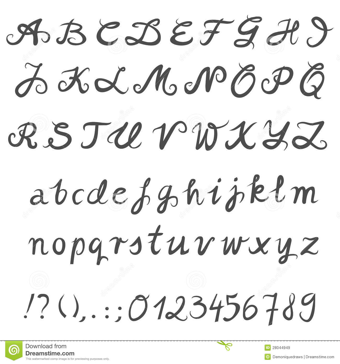 Coloring pages question mark - Hand Drawn Gray Letters And Numbers Royalty Free Stock