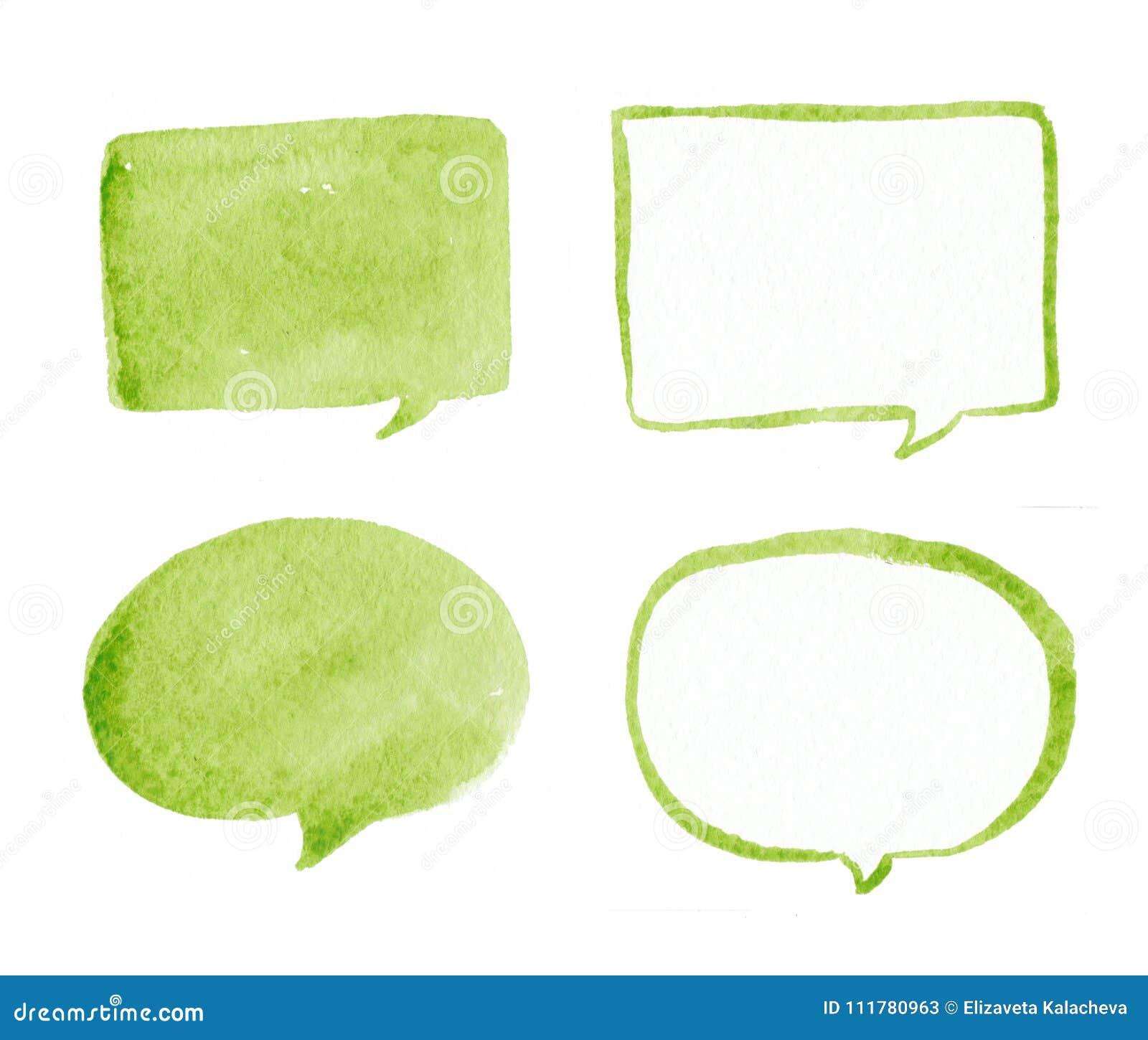 Hand drawn green bubble speech watercolor set, bubble watercolor. Green bubble