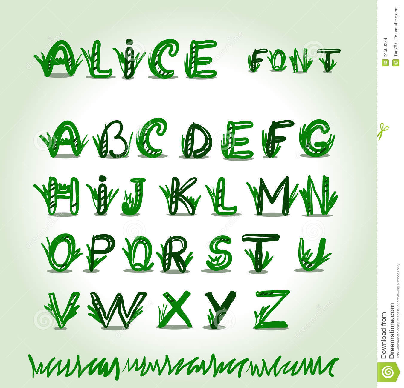 Hand Drawn Green Font In Vector Format Stock Vector  Illustration