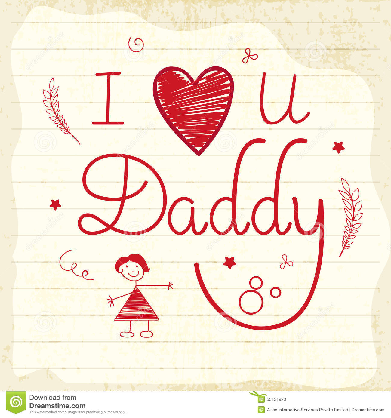 Hand drawn greeting card for happy fathers day stock for I love to design