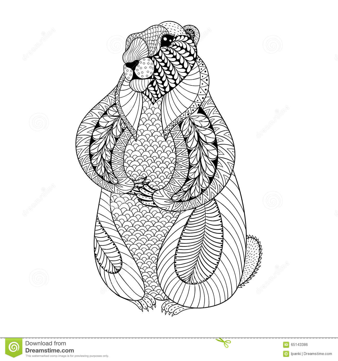 Hand Drawn Groundhog For Adult Coloring Pages In Doodle