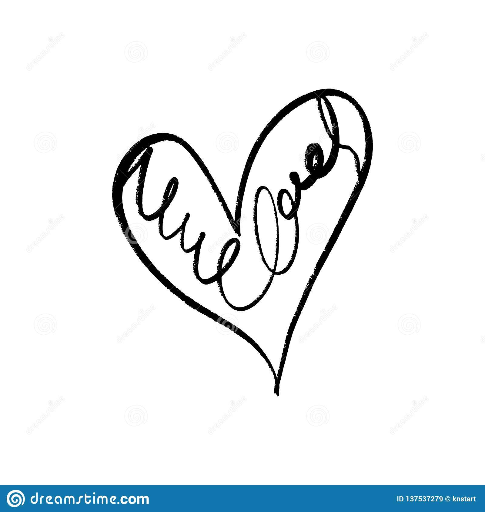 Hand drawn scribble vector sketch line heart object isolated on white background