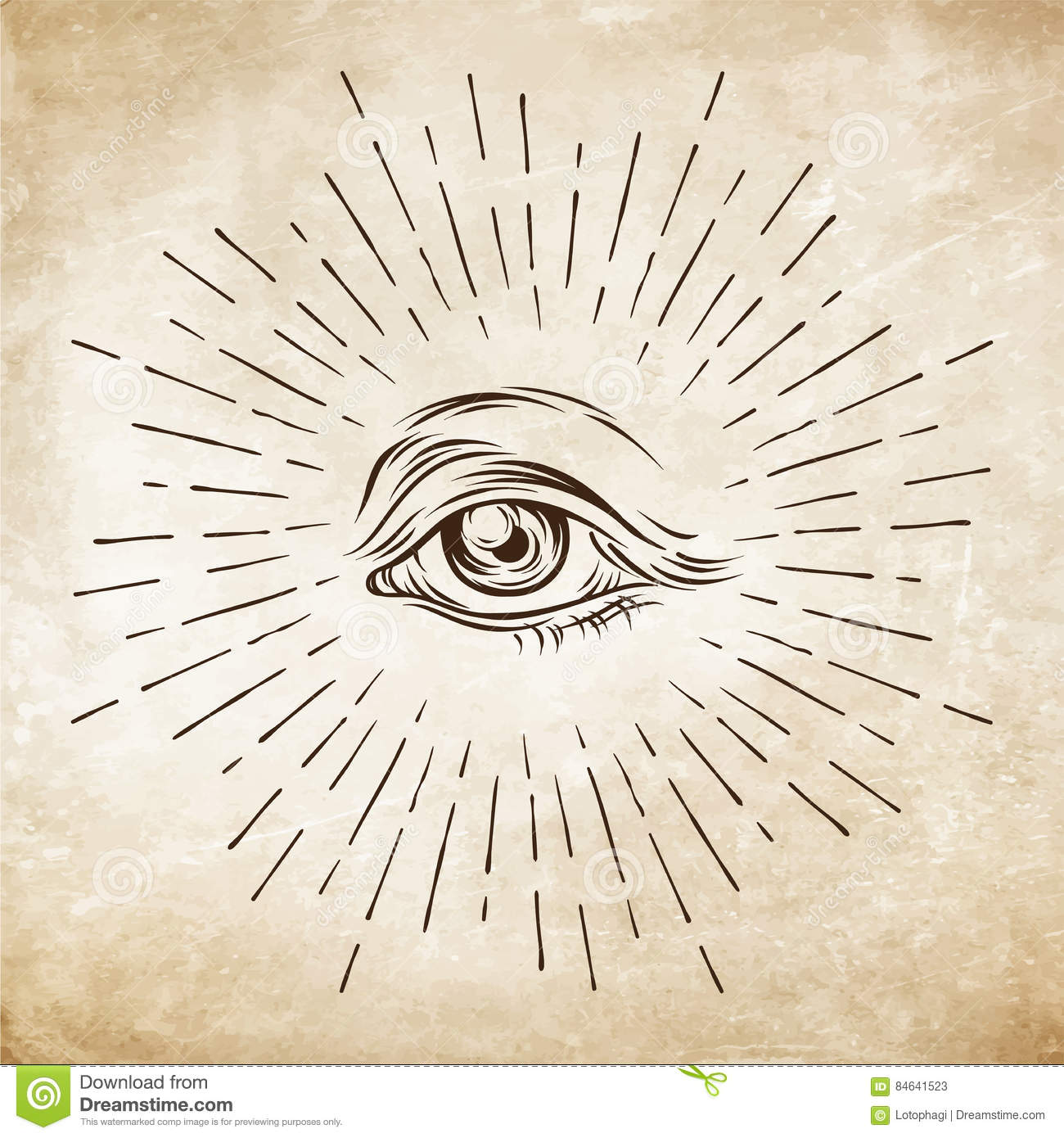 Hand Drawn Grunge Sketch Eye Of Providence Masonic Symbol All
