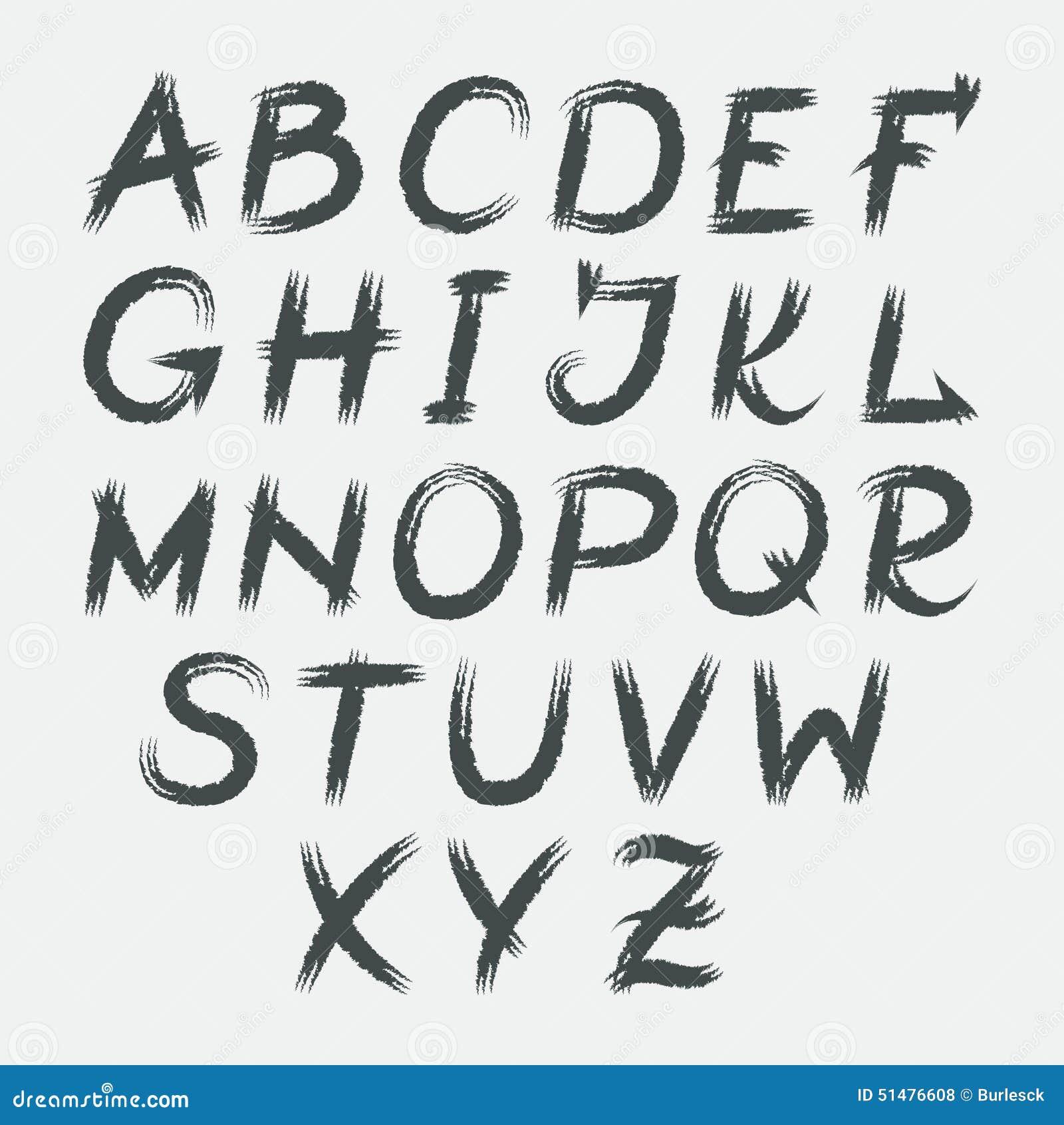 Vector acrylic brush style hand drawn alphabet font stock
