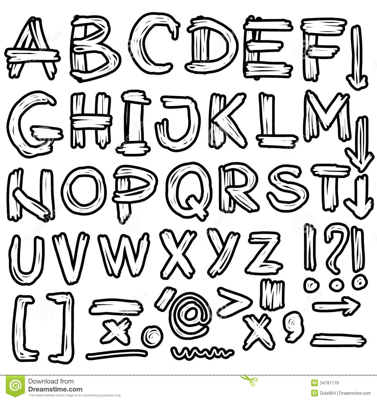 Hand Drawn Grungy Font Doodles Royalty Free Stock Images Image