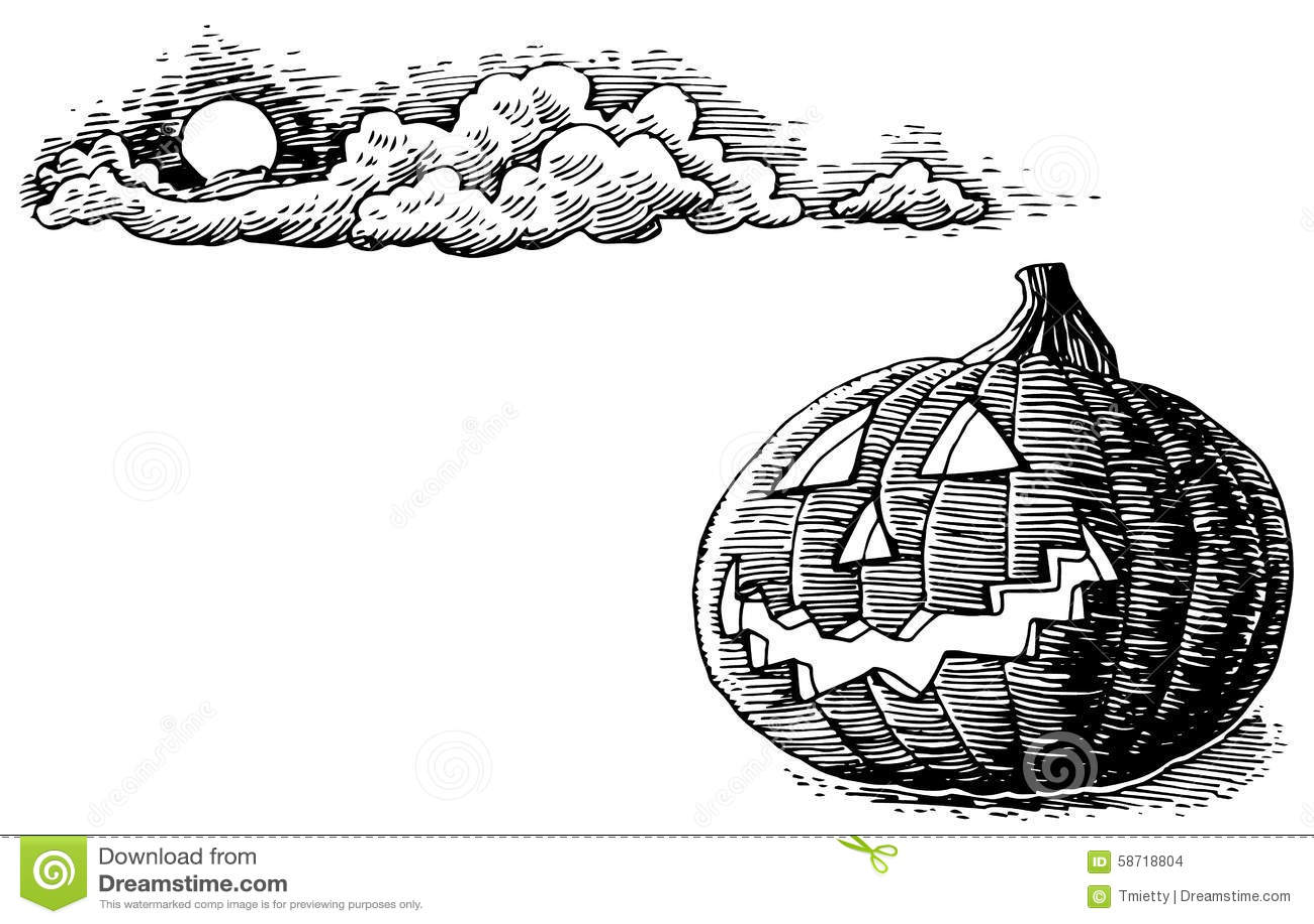 Hand drawn halloween jack o lantern stock vector image