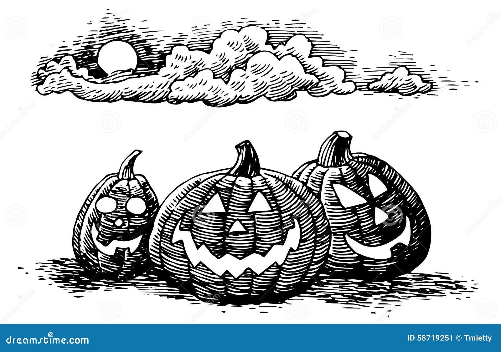 Hand drawn halloween jack o lanterns stock vector image