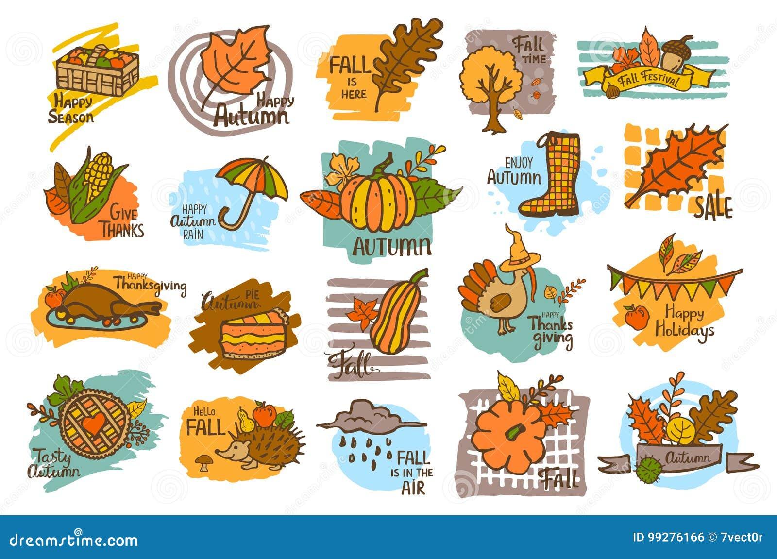 Hand Drawn Handwritten Autumn Fall Thanksgiving Cute Cartoon Labels