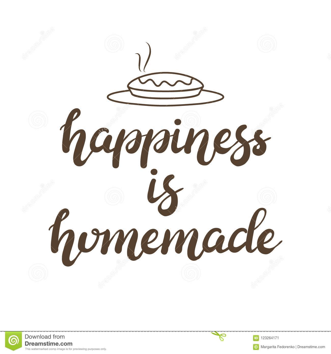 Hand drawn Happiness is homemade typography lettering poster background, isolated. Text and decor - pie silhouette. Gift card, banner template.