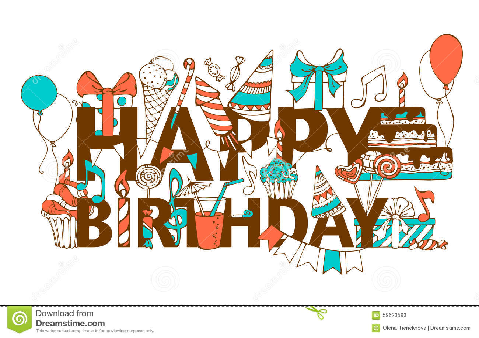 Hand Drawn Happy Birthday Card Stock Vector Image 59623593