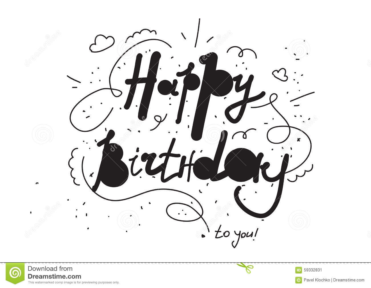 Stock Illustration Hand Drawn Happy Birthday Inscription Greeting Black White Colors Funny Style Lettering Image59332831 on Funny Happy Birthday Cards