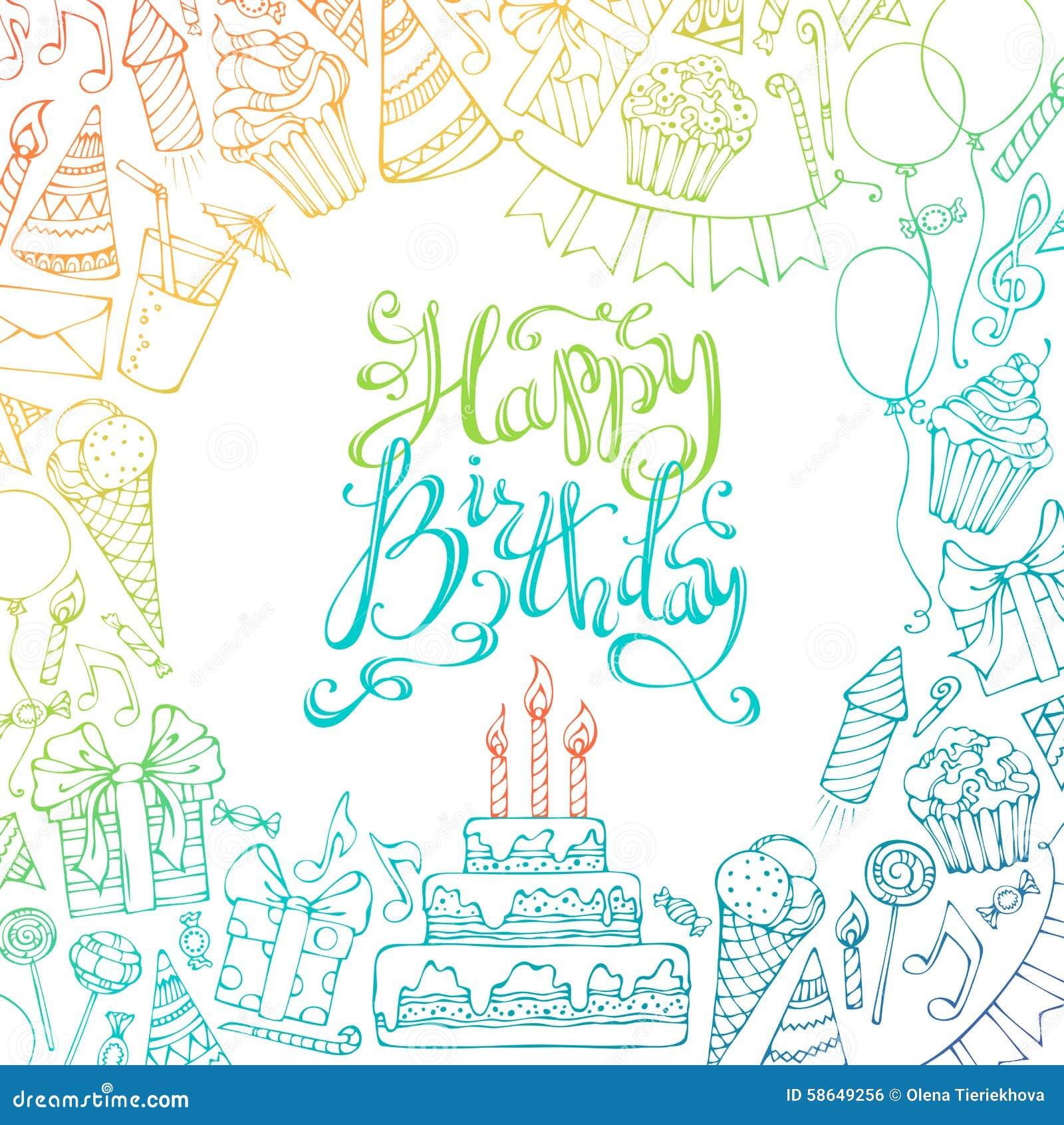 Hand-drawn Happy Birthday Square Background. Stock Vector