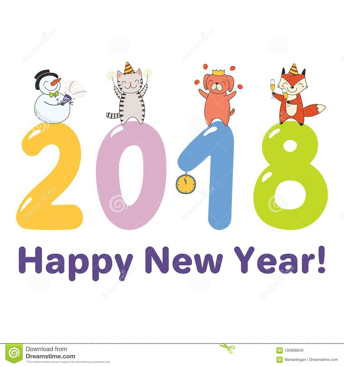 hand drawn happy new year 2018 greeting card banner template with cute funny cartoon animals celebratingstanding on big numbers text objects