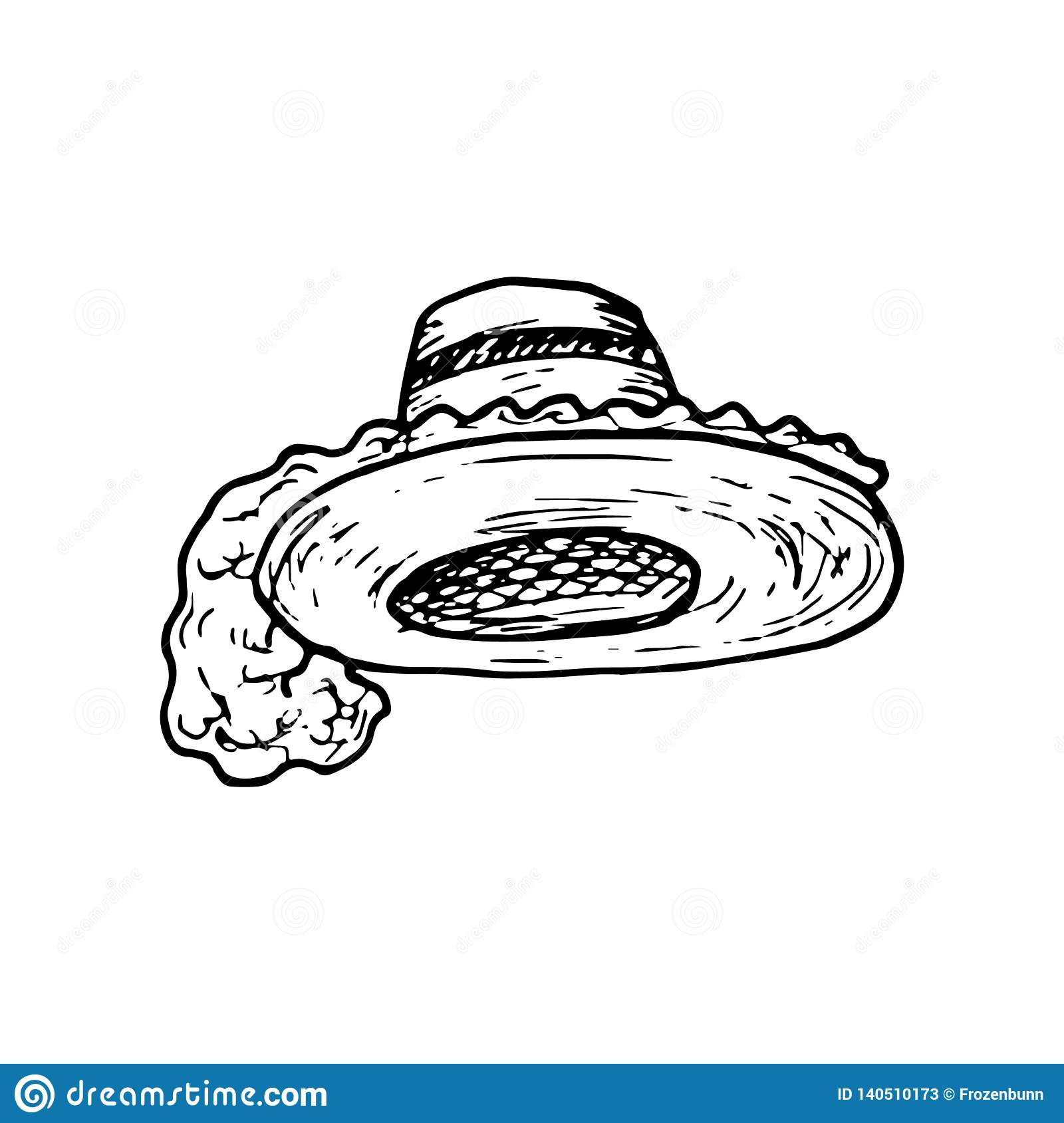 3e8278ed8b9 Hand Drawn hat with feathers doodle. Sketch style icon. Decoration element.  Isolated on