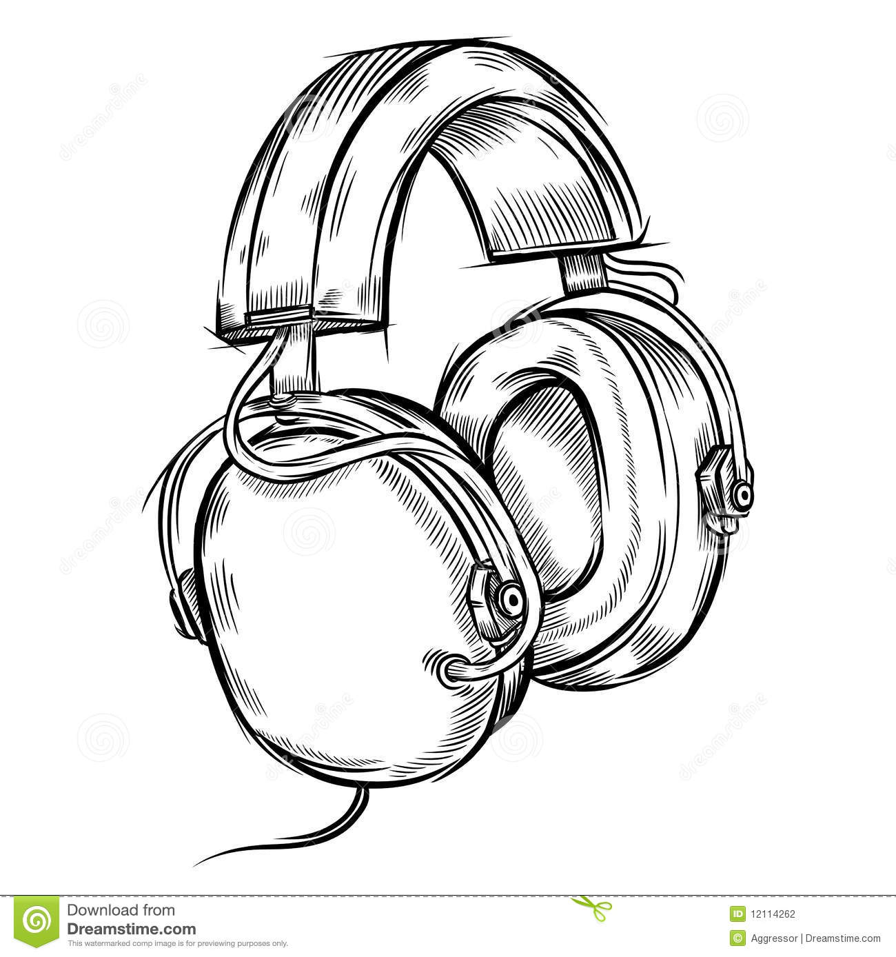 Line Art Headphones : Hand drawn headphones stock vector illustration of