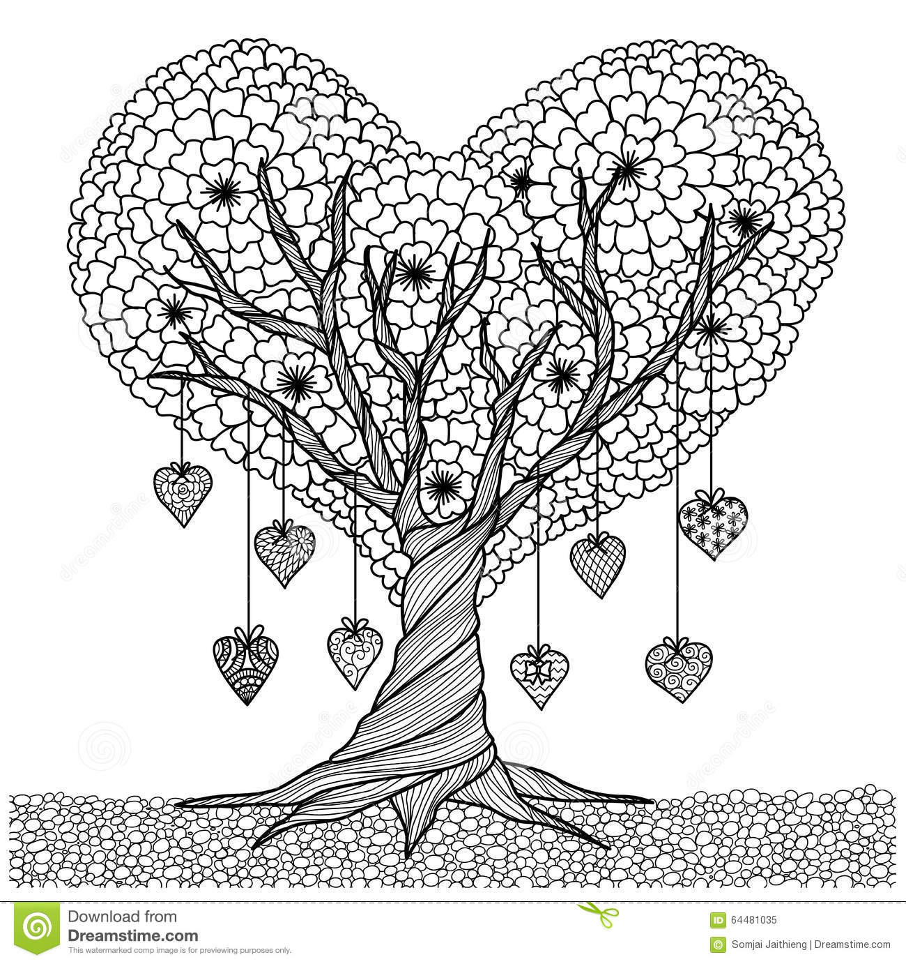 Hand Drawn Heart Shape Tree For Coloring Book For Adult Stock Vector ...