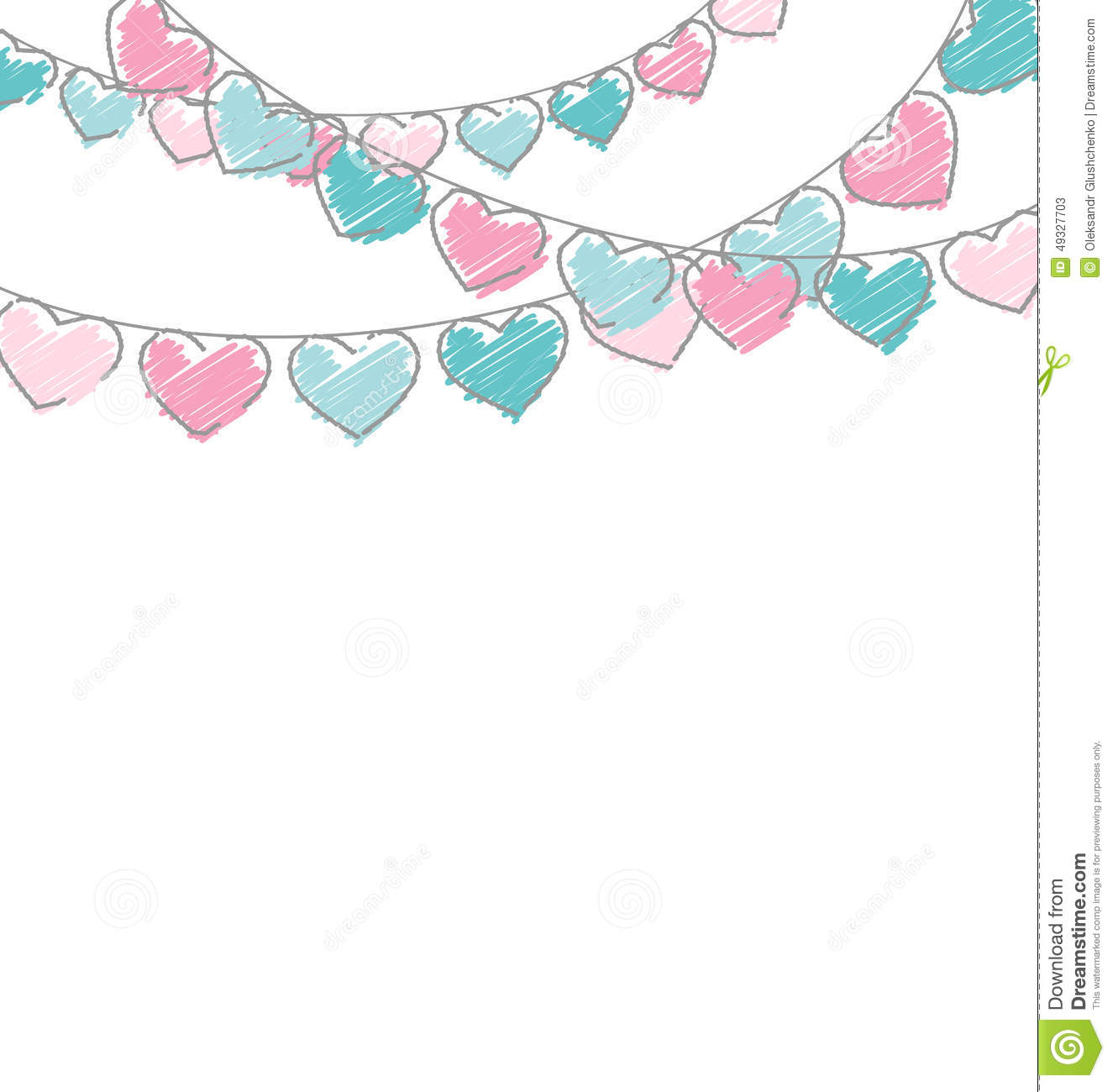 Stock Illustration Hand Drawn Hearts Buntings Garlands Pastel Colors W...