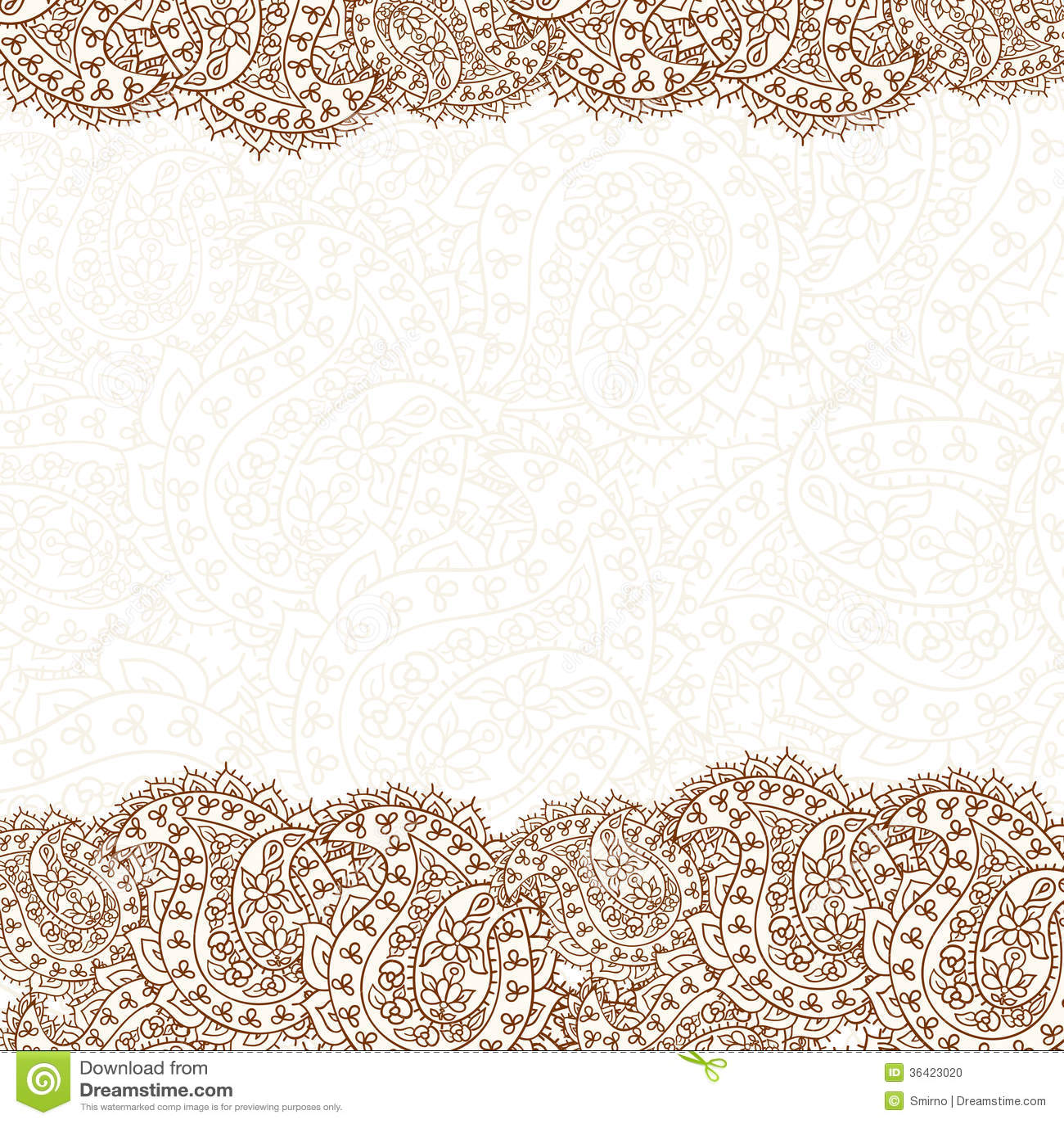 Hand-Drawn Henna Mehndi Abstract Pattern. Stock Photo - Image: 36423020