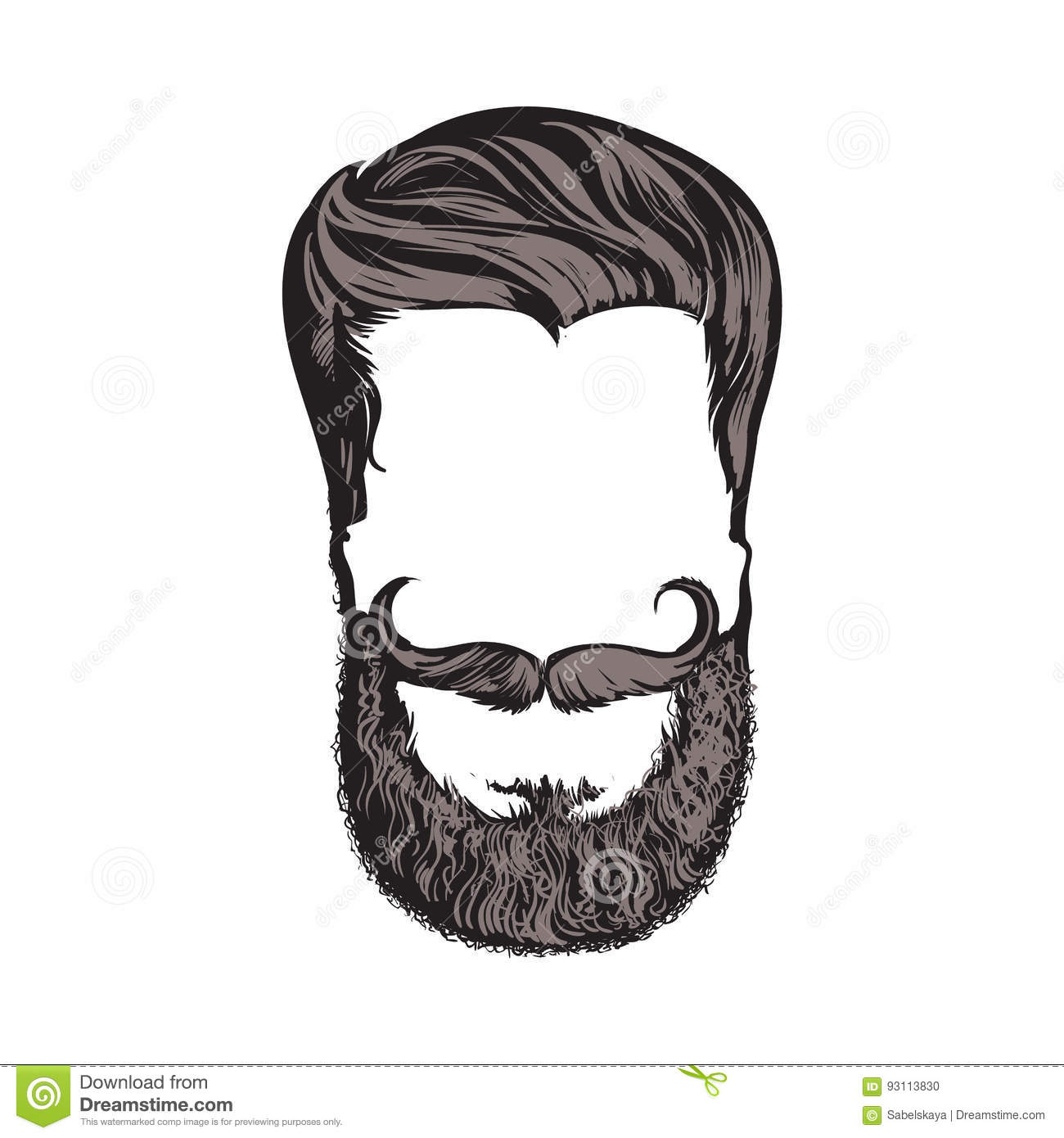 Hand Drawn Hipster Hairstyle Beard And Mustache Sketch Vector