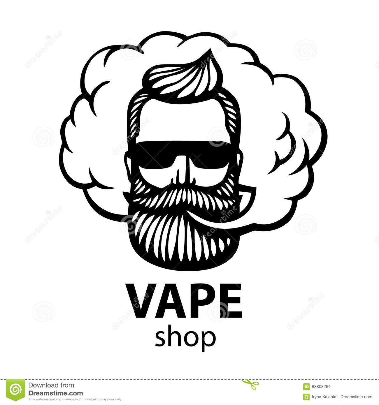 Hand drawn hipster with mustache and beard man with vape and cloud electronic cigarette vector stickers logo