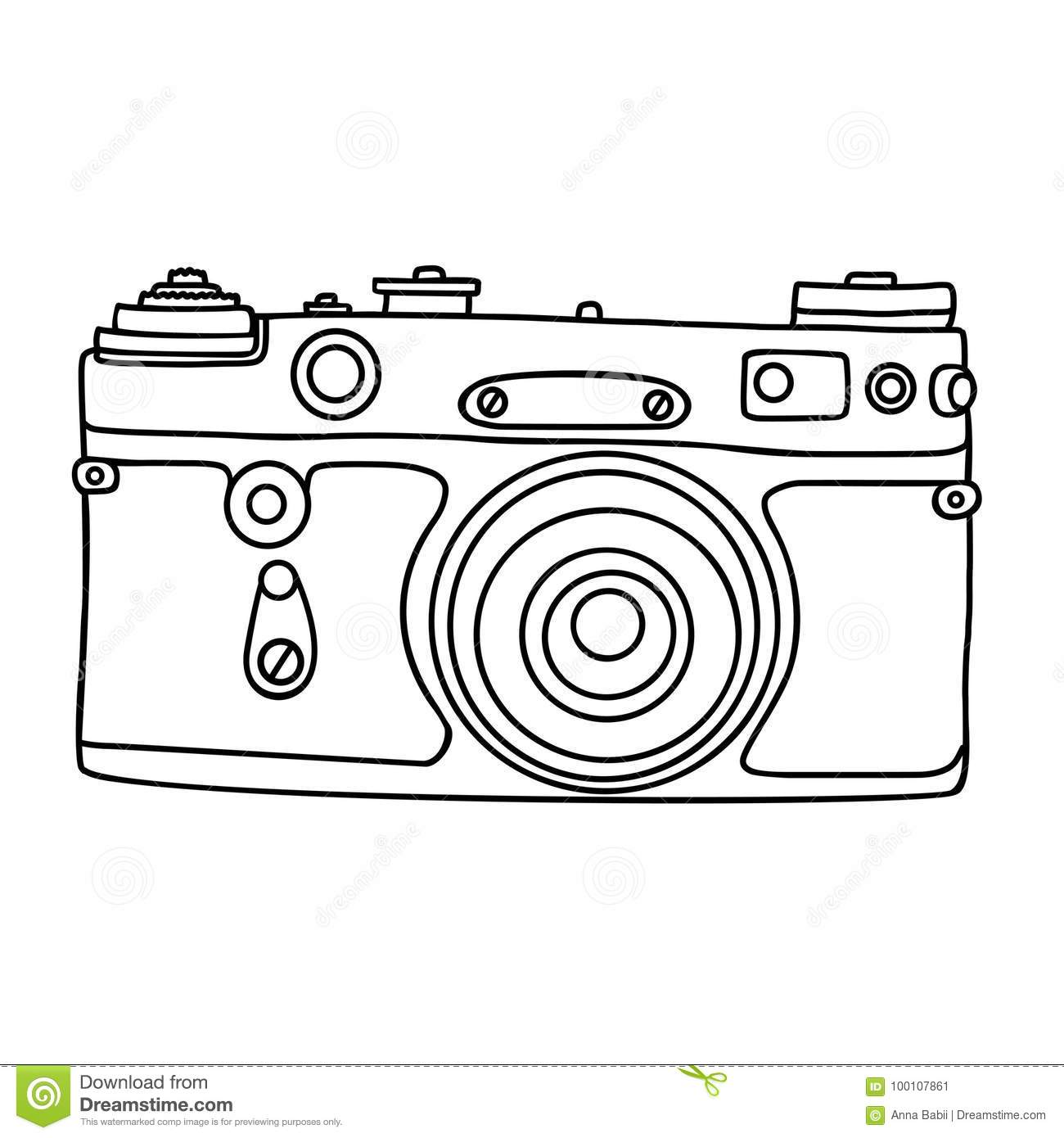 Hand drawn hipster old photo camera. Vintage camera icon. Simple vector illustration.