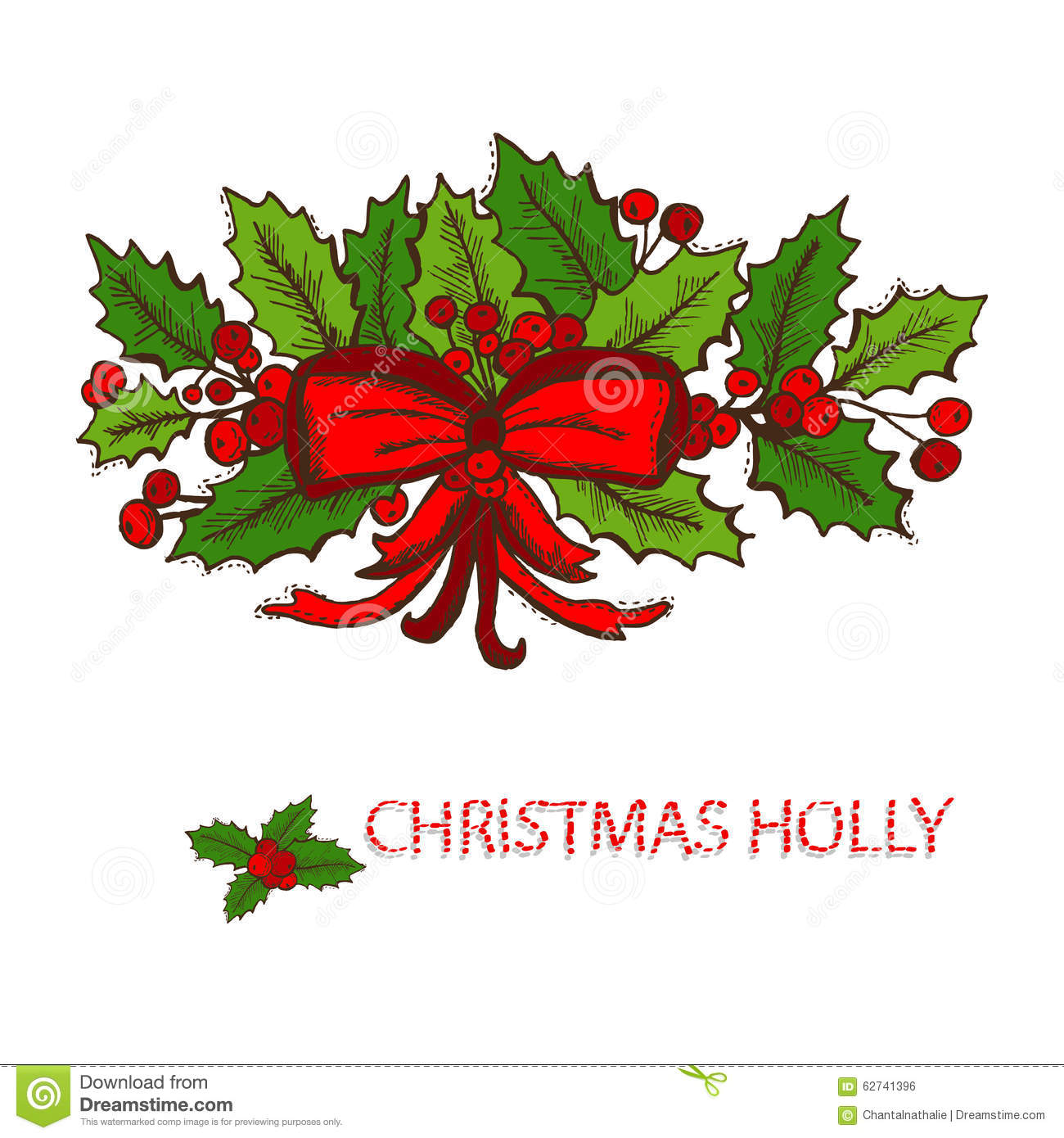 Hand drawn holly decor stock vector. Illustration of ...