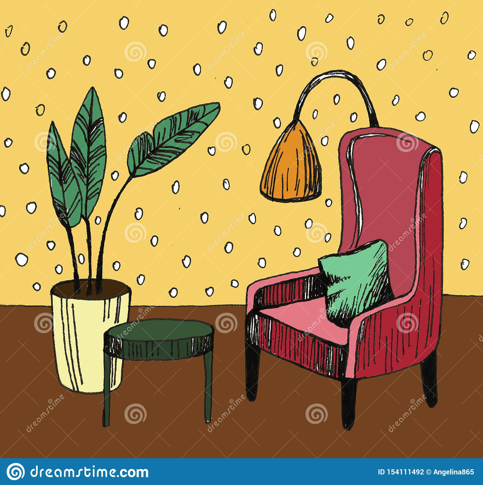 Hand drawn home interior sketch with armchairs, flower in a pot and lamp. Colored illustration