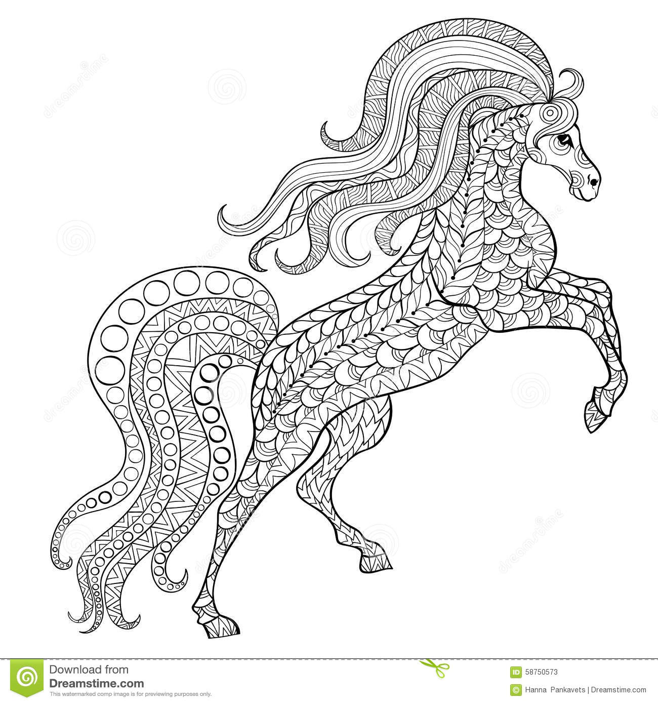 Abstract Horse Coloring Pages : Hand drawn horse for antistress coloring page with high