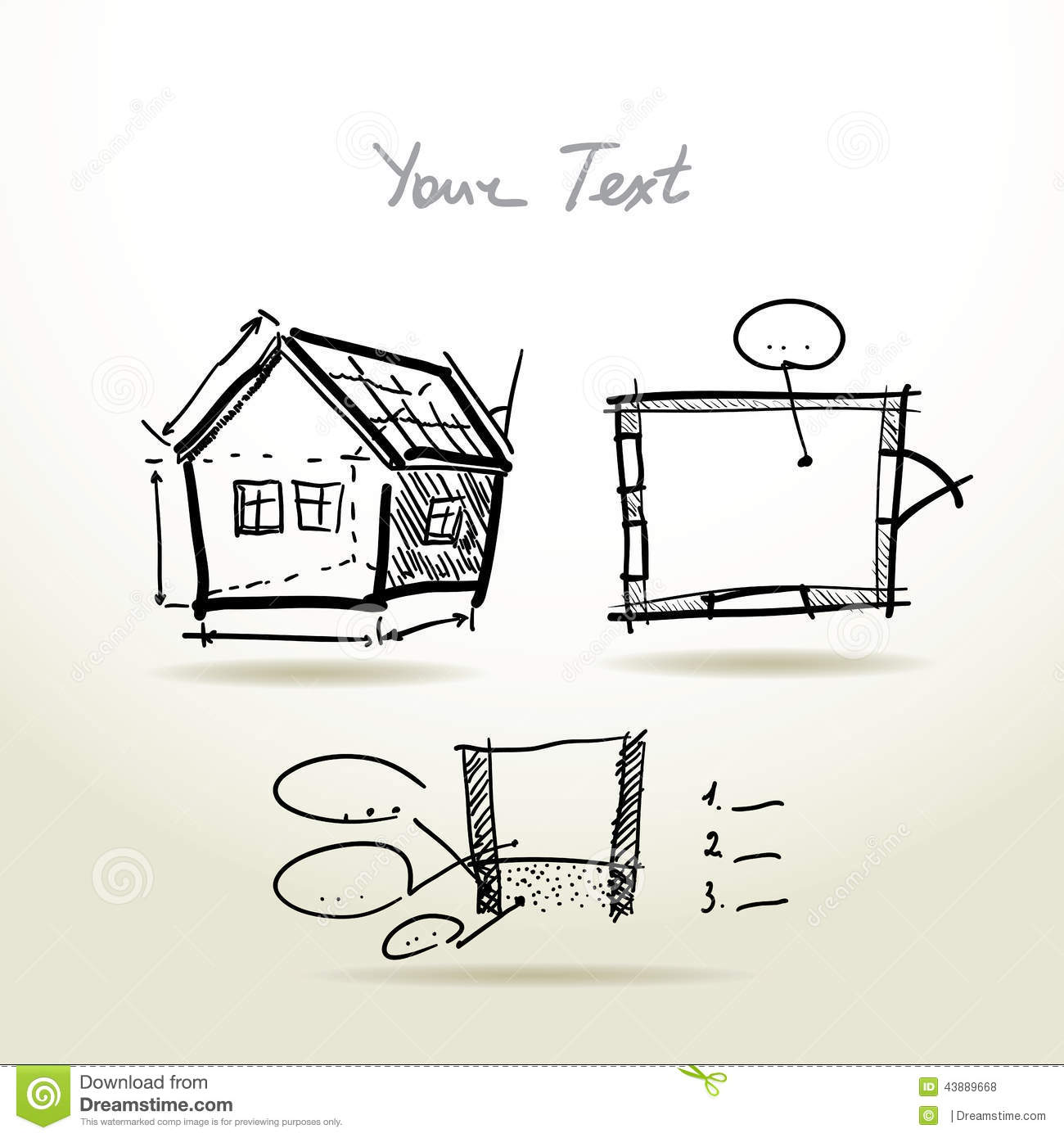 Hand Drawn House Plan Sketch Project For Your Stock Vector Image