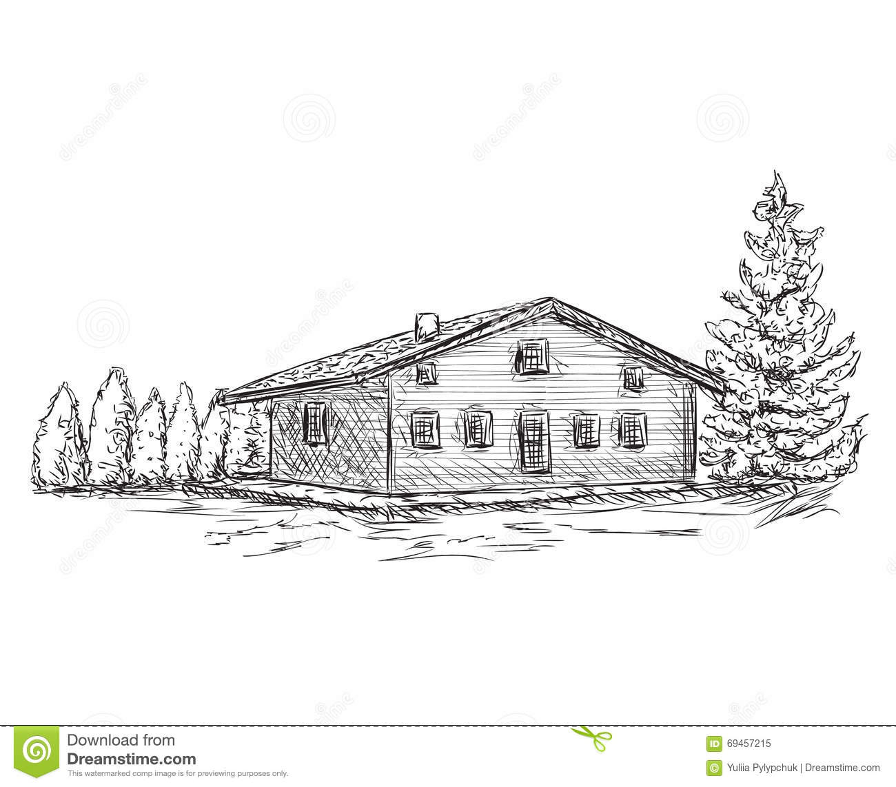 Hand Drawn House Sketch Doodles Tree Stock Vector Illustration Of