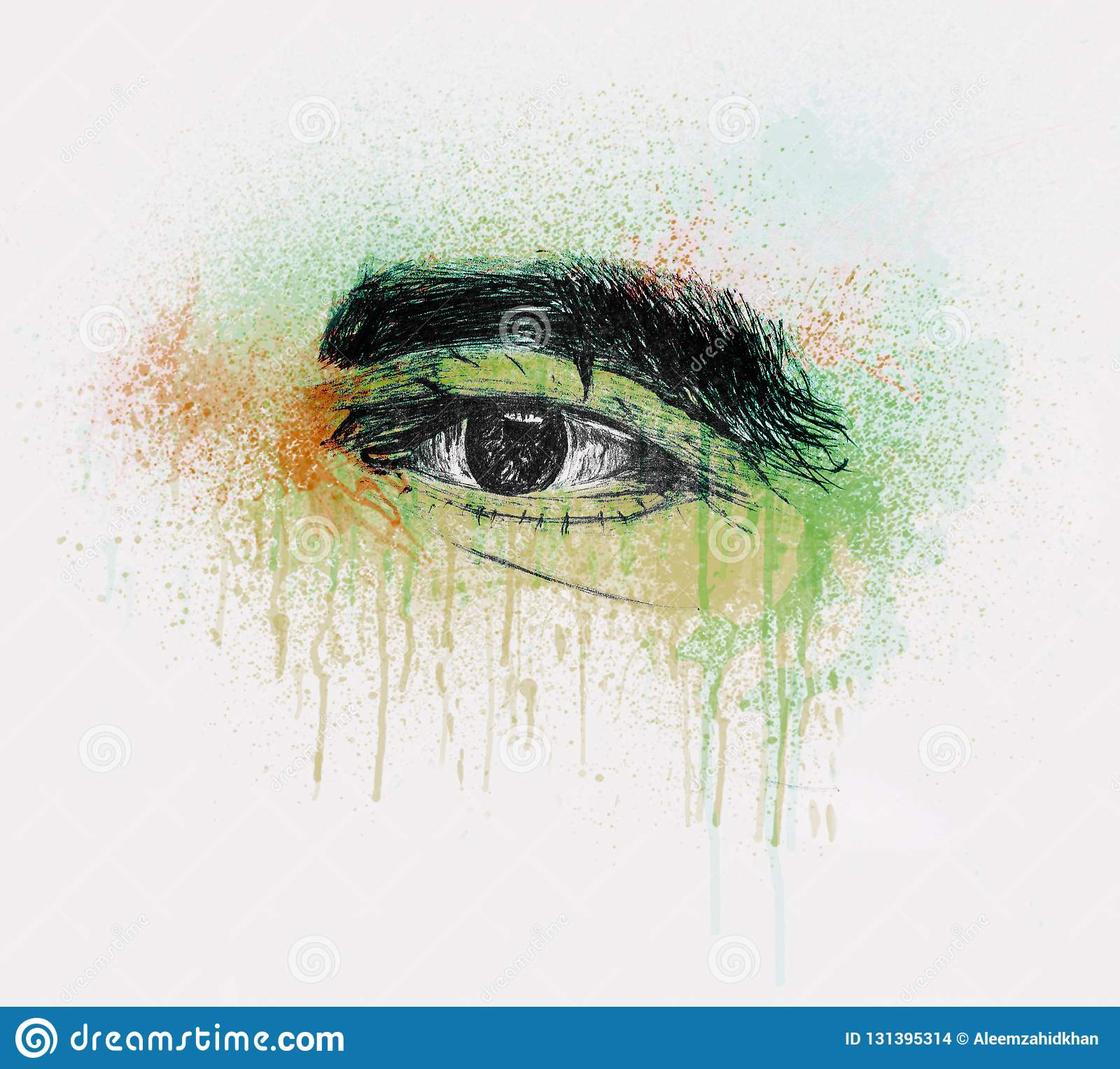 Hand drawn human eye of a old man with thick eyebrows pencil sketch and water color