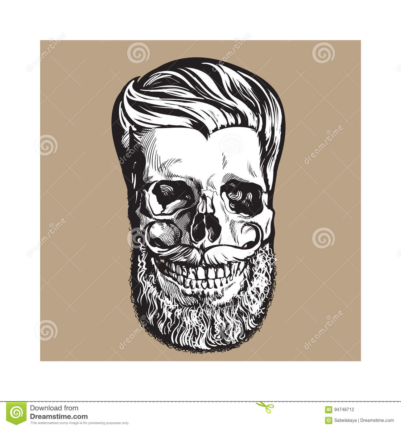 Hand drawn human skull with hipster hairdo, beard and moustache