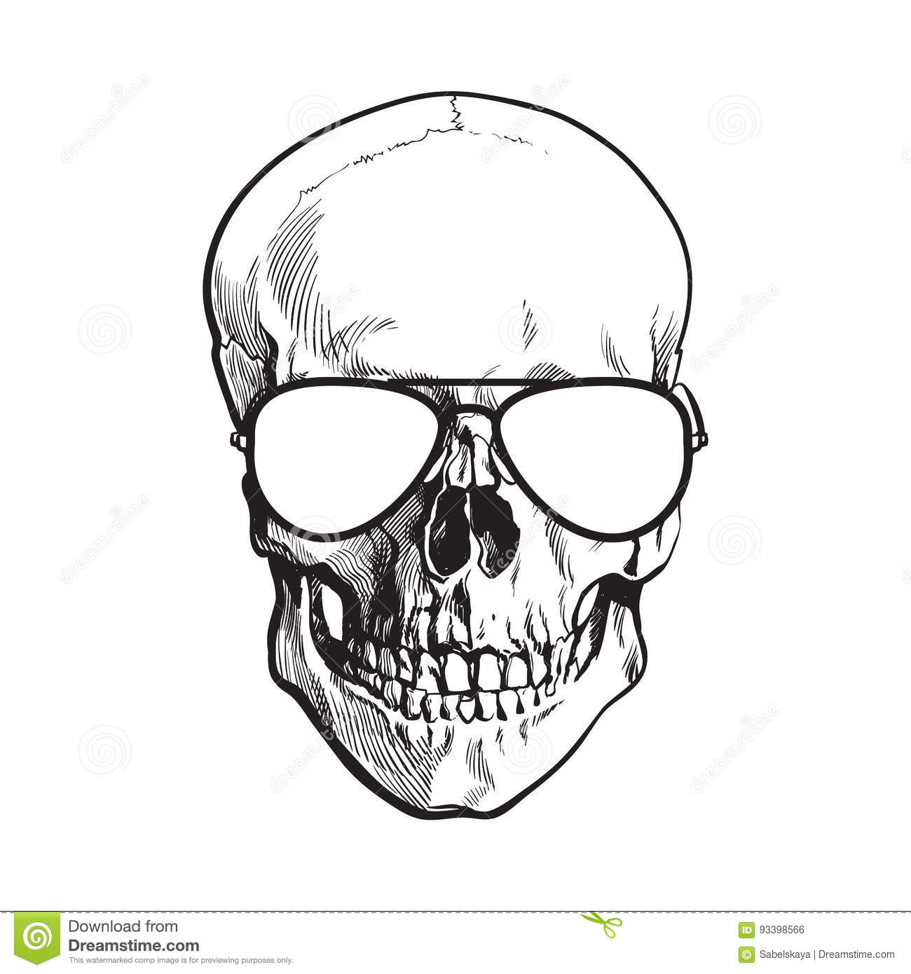a78fedd4280 Hand Drawn Human Skull Wearing Black And White Aviator Sunglasses ...