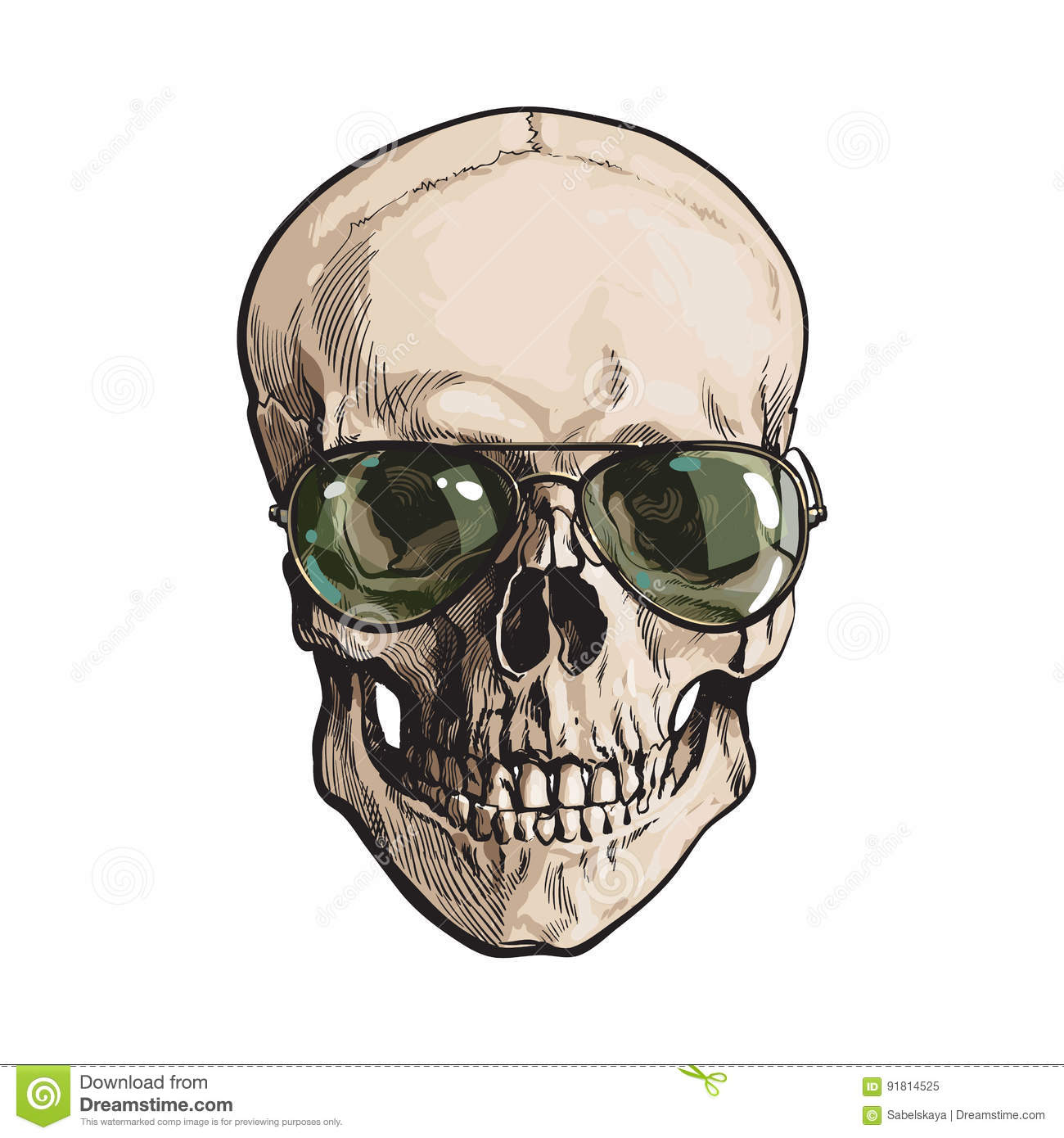 3124c6f3089 Hand Drawn Human Skull Wearing Green Aviator Sunglasses Stock Vector ...